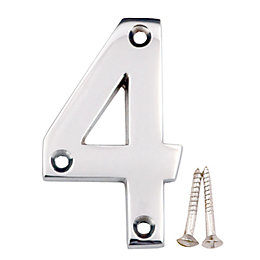 Chrome Effect Brass House Number 4