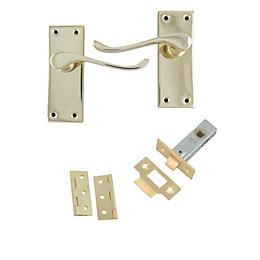 Polished Brass Effect Internal Scroll Latch Door Handle,