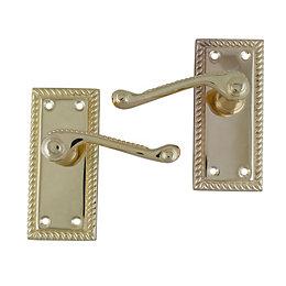 Polished Brass Effect Internal Scroll Latch Door Handle,