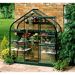 B&Q Metal 6X2 Toughened Safety Glass Wall Garden