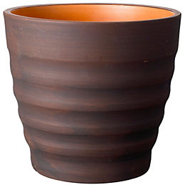 Ribbed Brown Plant Pot (H)22cm (Dia)24cm