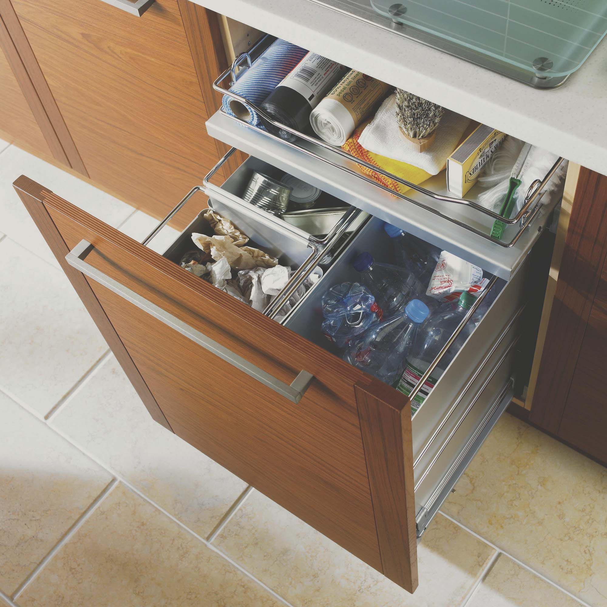 B&Q Chrome Effect Kitchen Pull Out Waste Bin | Departments | DIY at B&Q