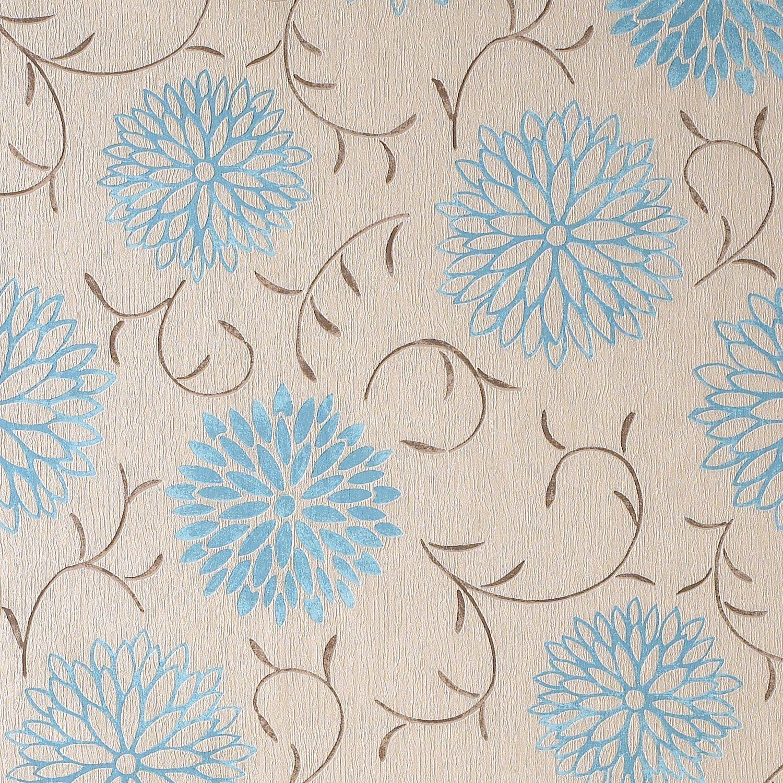 Colours Romantic Cream & Teal Floral Wallpaper | Departments | DIY ...