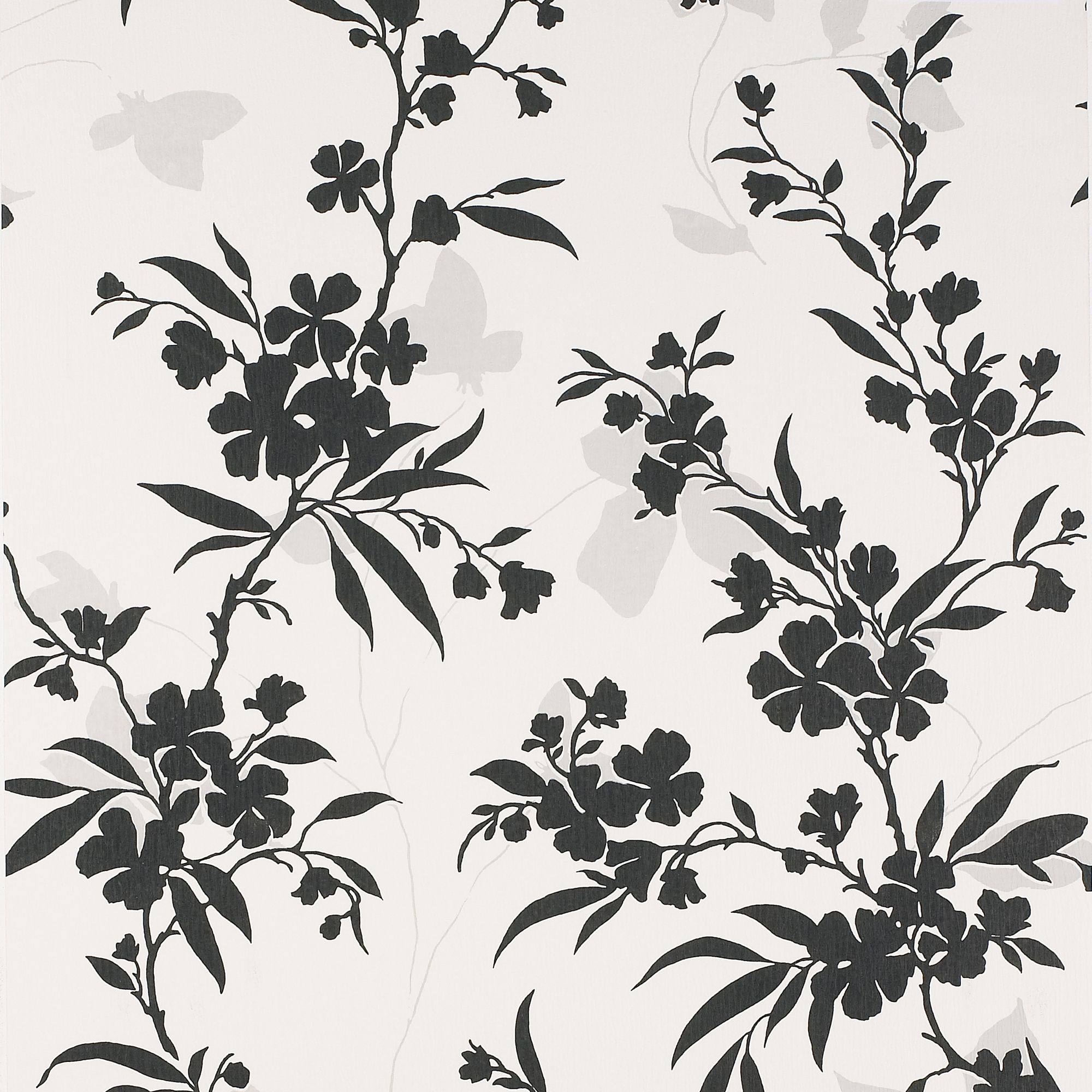 Colours Vogue Black White Floral Wallpaper Departments Diy At Bq