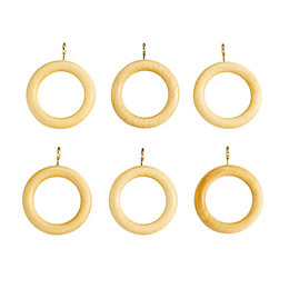Colours Modern Pine Effect Wood Curtain Ring (Dia)23mm