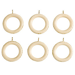 Colours Modern Cream Wood Curtain Ring (Dia)35mm, Pack
