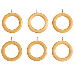Colours Modern Beech Effect Wood Curtain Ring (Dia)35mm,