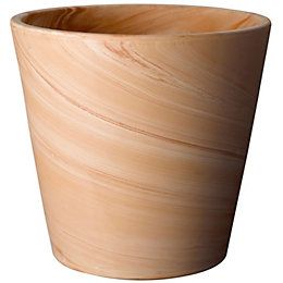 Terracotta Marble effect Plant pot (H)285mm (Dia)320mm