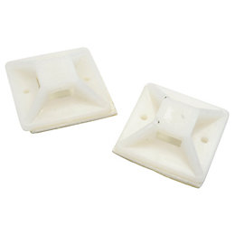 B&Q White 20mm Self Adhesive Cable Mounts, Pack