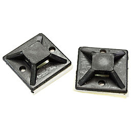 B&Q Black 25mm Cable Mounts, Pack of 20