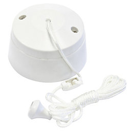 B&Q 1-Way White Ceiling Pull Switch