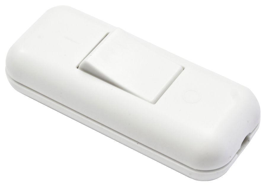 B Amp Q 2a 1 Way Single White Plastic Inline Switch