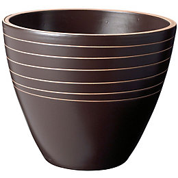 Glazed Brown Plant Pot (H)24.5cm (Dia)30cm