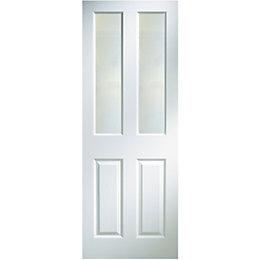 4 Panel Primed Woodgrain Glazed Internal Standard Door,