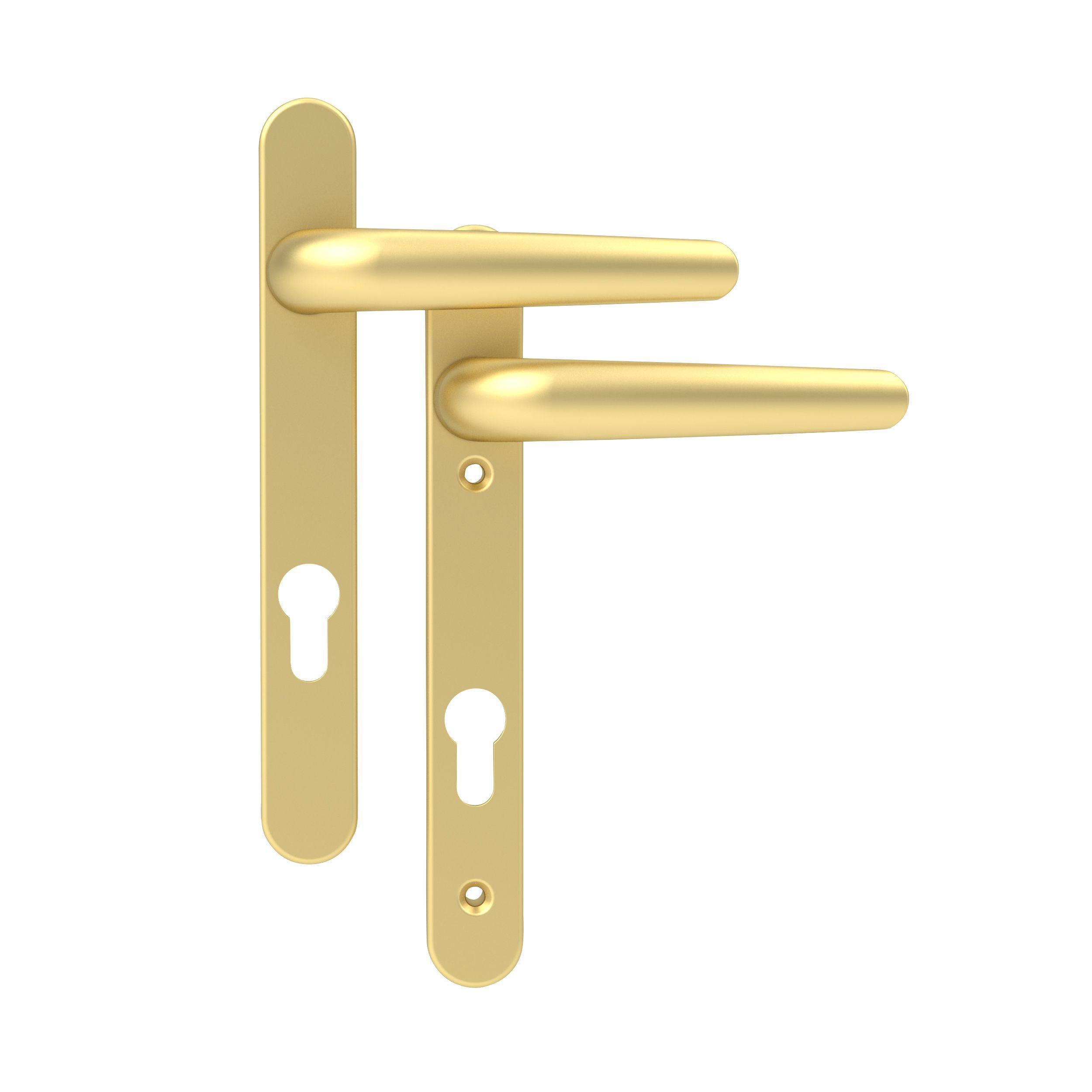 Gold Effect External Straight Lock Door Handle Set