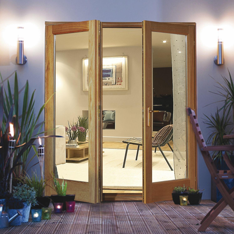 Clear Glazed Oak Veneer External French Door Set H2100mm W