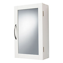 B&Q Lenna Single Door White Mirror Cabinet