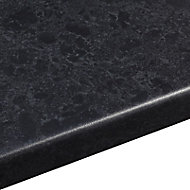 38mm Midnight Black Satin Granite effect Round edge Laminate Worktop (L)3m (D)600mm