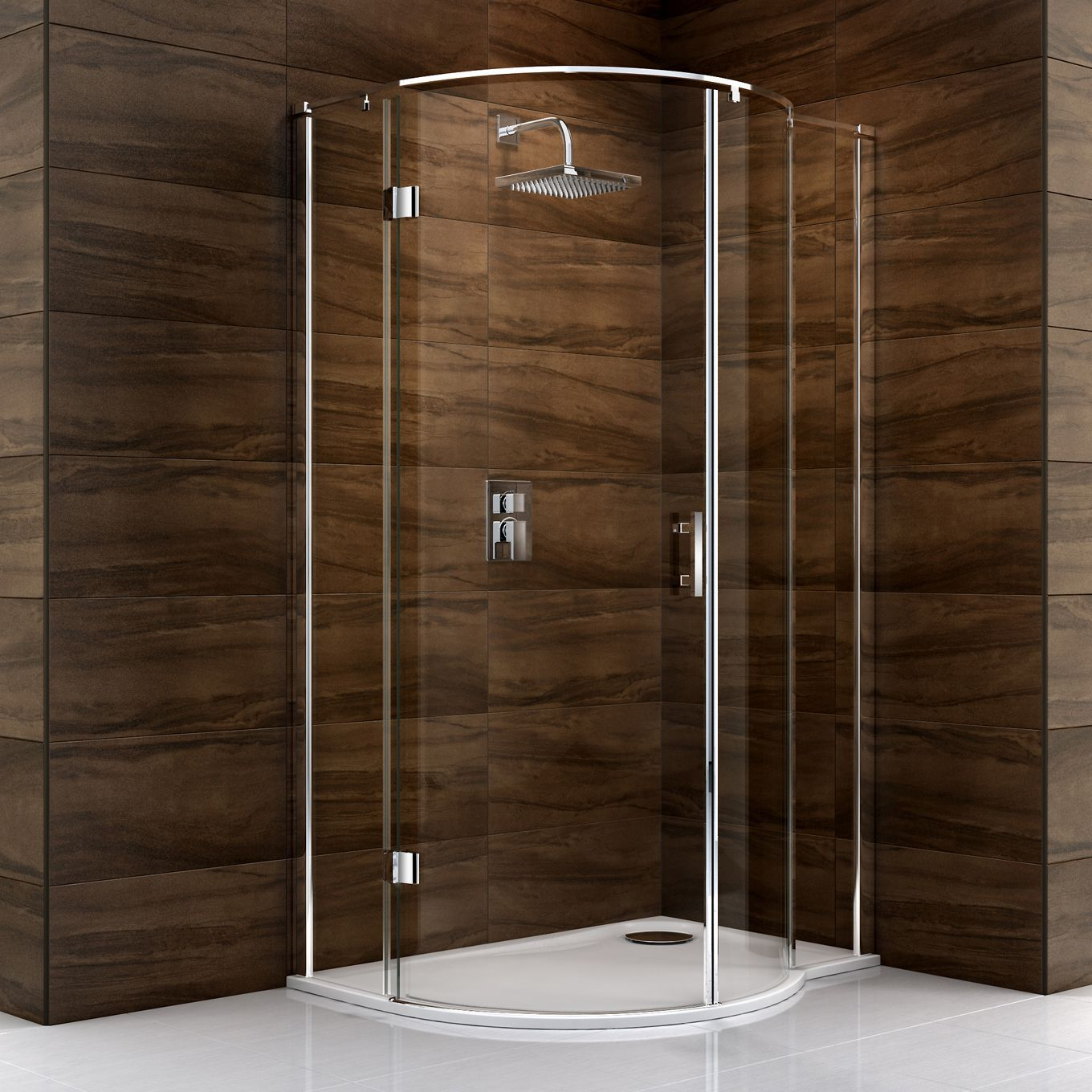 Cooke & Lewis Cascata P shaped Shower enclosure with Hinged door (W ...