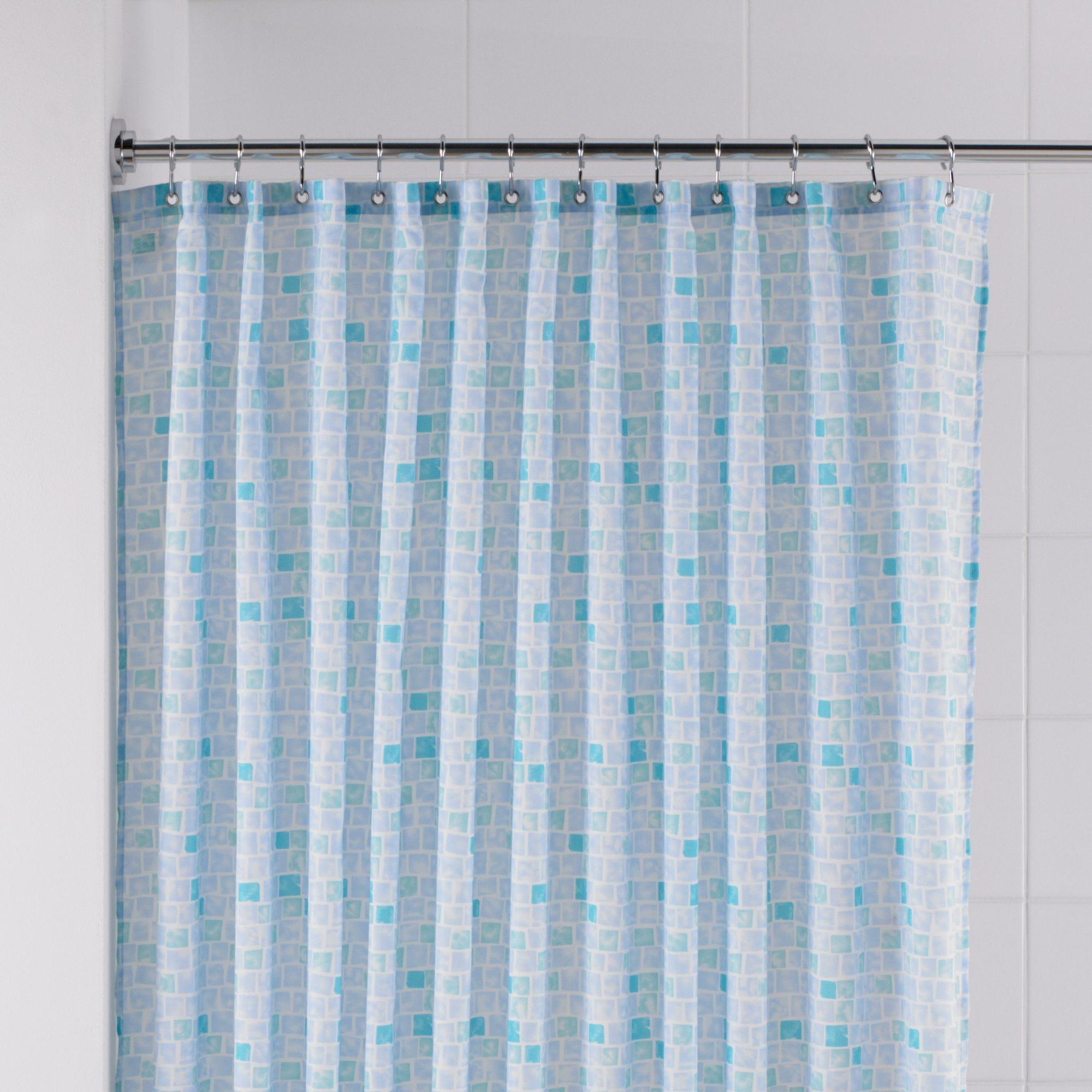 B&Q Blue Mosaic Shower curtain (L)1800 mm | Departments | DIY at B&Q