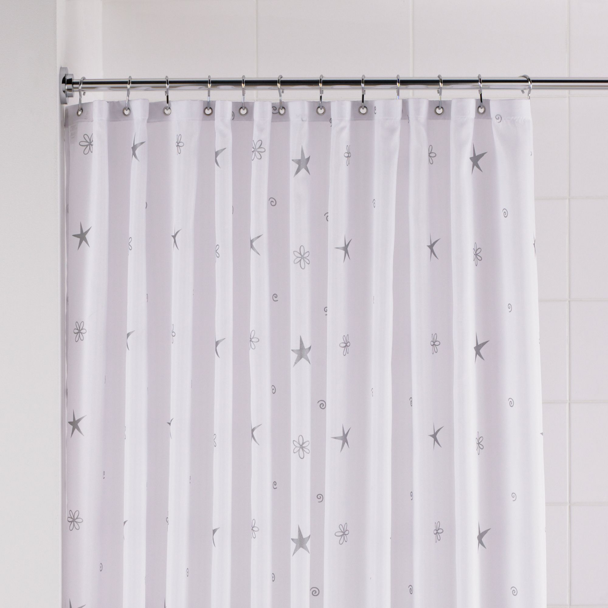 B Q Silver White Twinkle Stars Shower Curtain L 1800 Mm Departments Diy At B Q