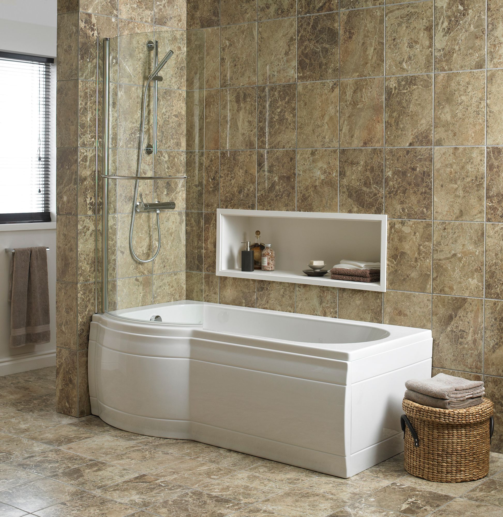 Cooke lewis adelphi curved bath screen departments diy at b q - Bathtub in shower ...