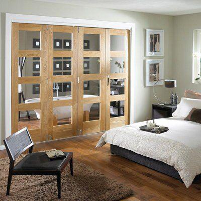 Shaker 4 Panel 4 Lite Oak Veneer Fully Glazed Internal Room Divider