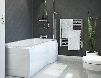 Cooke & Lewis Adelphi LH Acrylic P shaped Shower Bath