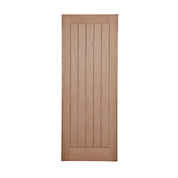 Cottage panel Oak veneer Internal Fire Door, (H)1981mm