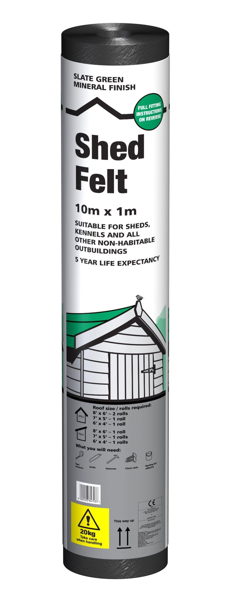 B Amp Q Green Shed Felt L 10 M W 1000mm Departments