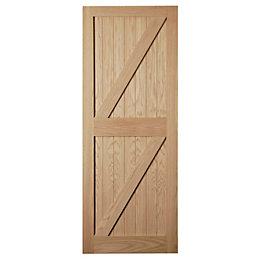 Framed Oak Effect Unglazed External Front/Back Door, (H)2032mm