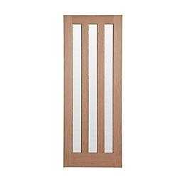 Vertical 3 panel Oak veneer Internal Standard Door,