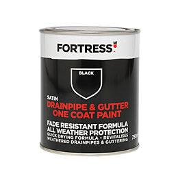 Fortress Black Satin Drainpipe & Gutter Paint 750