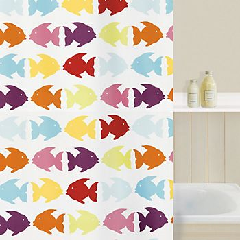 Shower curtain in bathroom