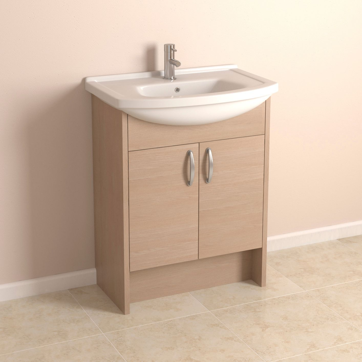 enza oak effect vanity unit with clad on end panels 22981