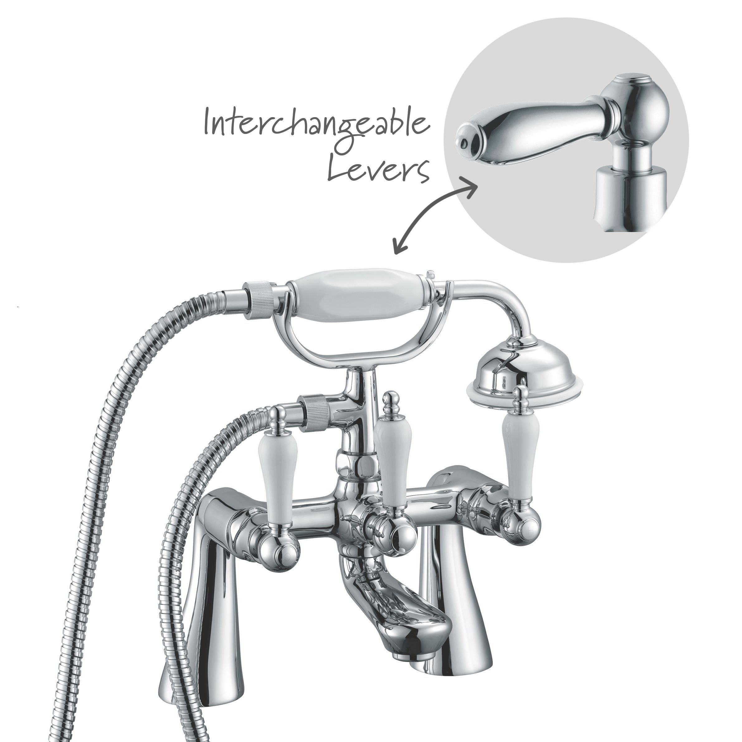 Cooke amp Lewis Timeless Chrome Bath Shower Mixer Tap