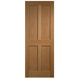 4 Panel Flush Oak Veneer Internal Unglazed Door,