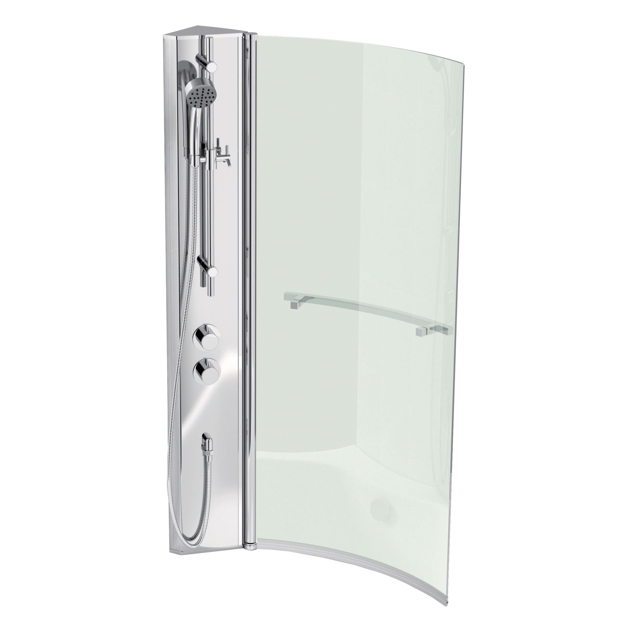 Cooke & Lewis Adelphi RH Shower Column & Curved Bath Screen (W)720mm ...