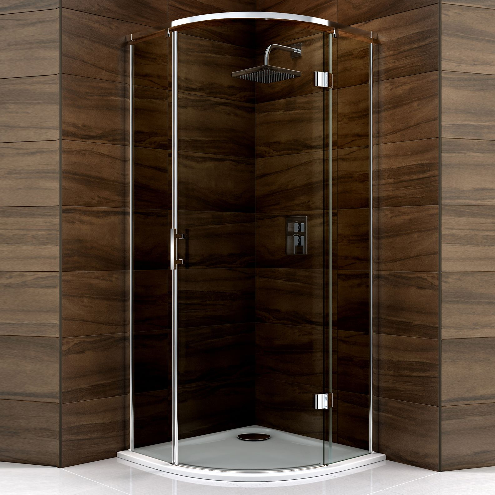 Cooke & Lewis Cascata Quadrant Hinged Shower Enclosure, Tray & Waste ...