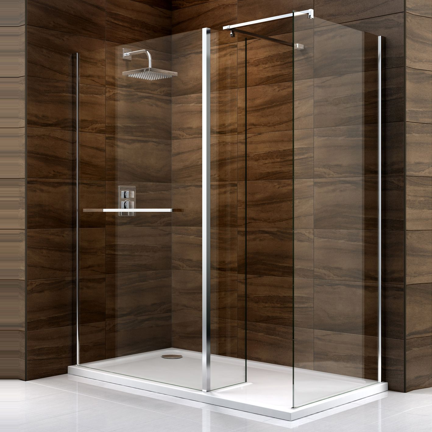 Cooke & Lewis Cascata Rectangular LH Shower Enclosure, Tray & Waste ...
