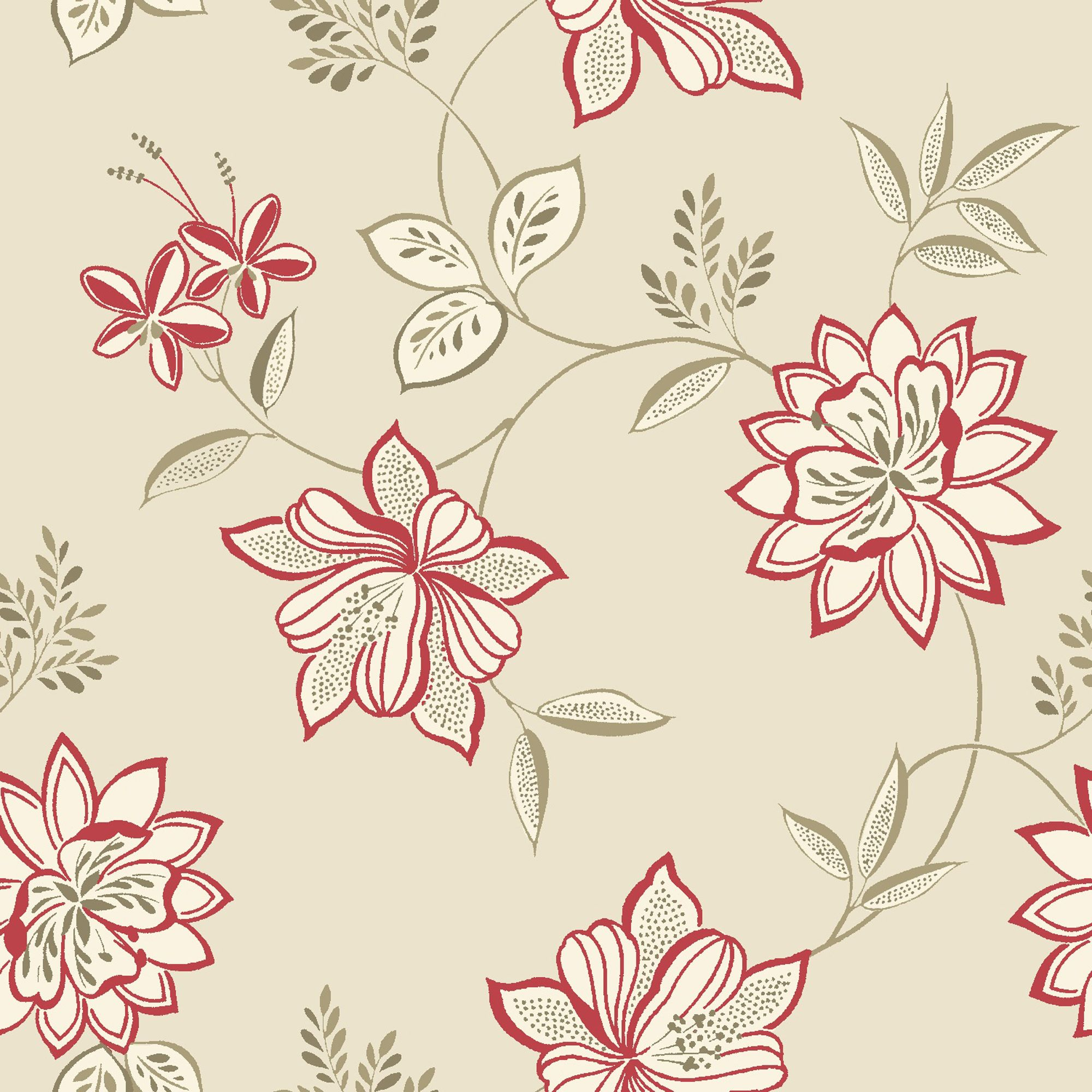 B Q Lexie Red Floral Wallpaper Departments Diy At B Q