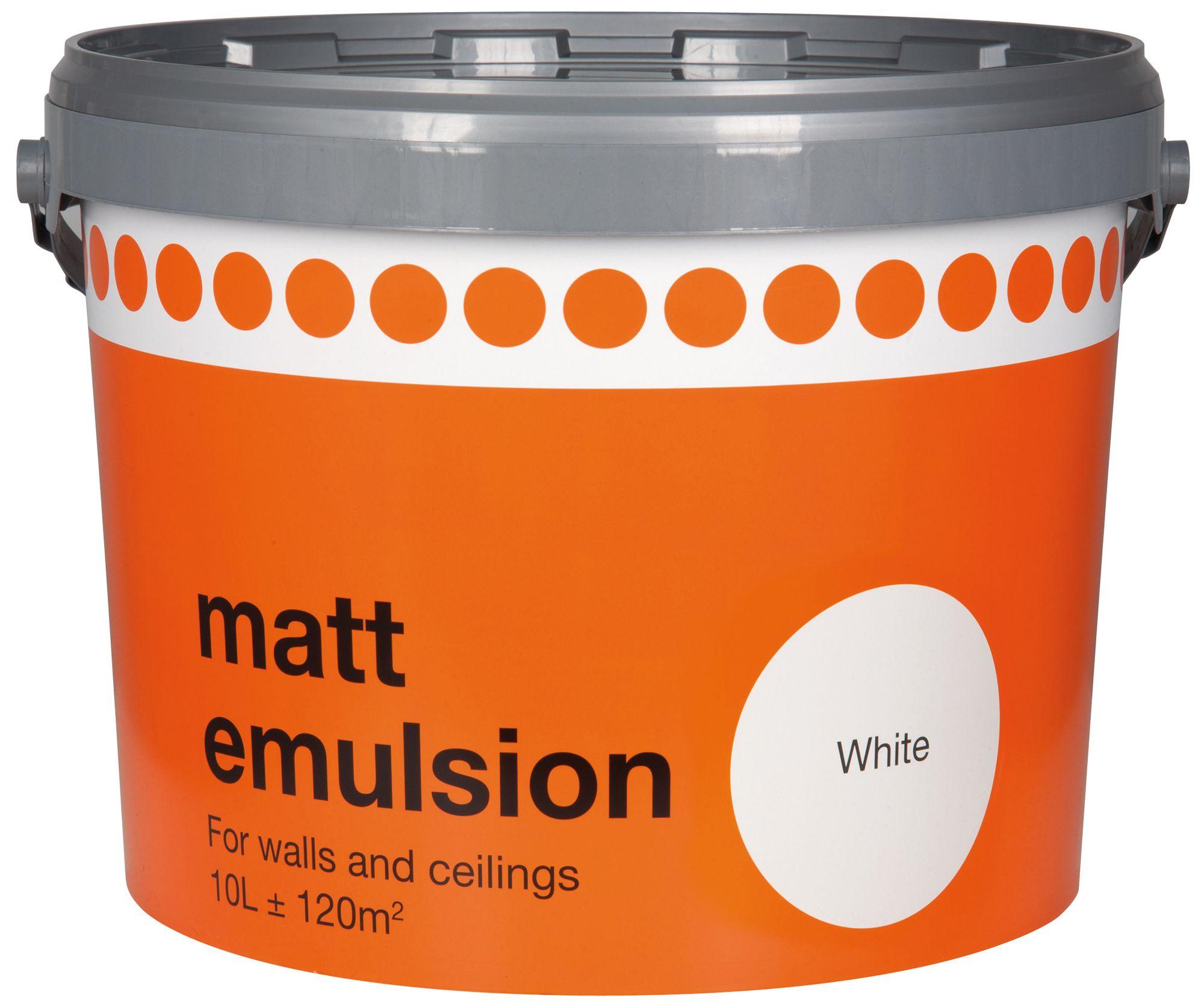 B&Q White Matt Emulsion Paint 10L | Departments | DIY at B&Q