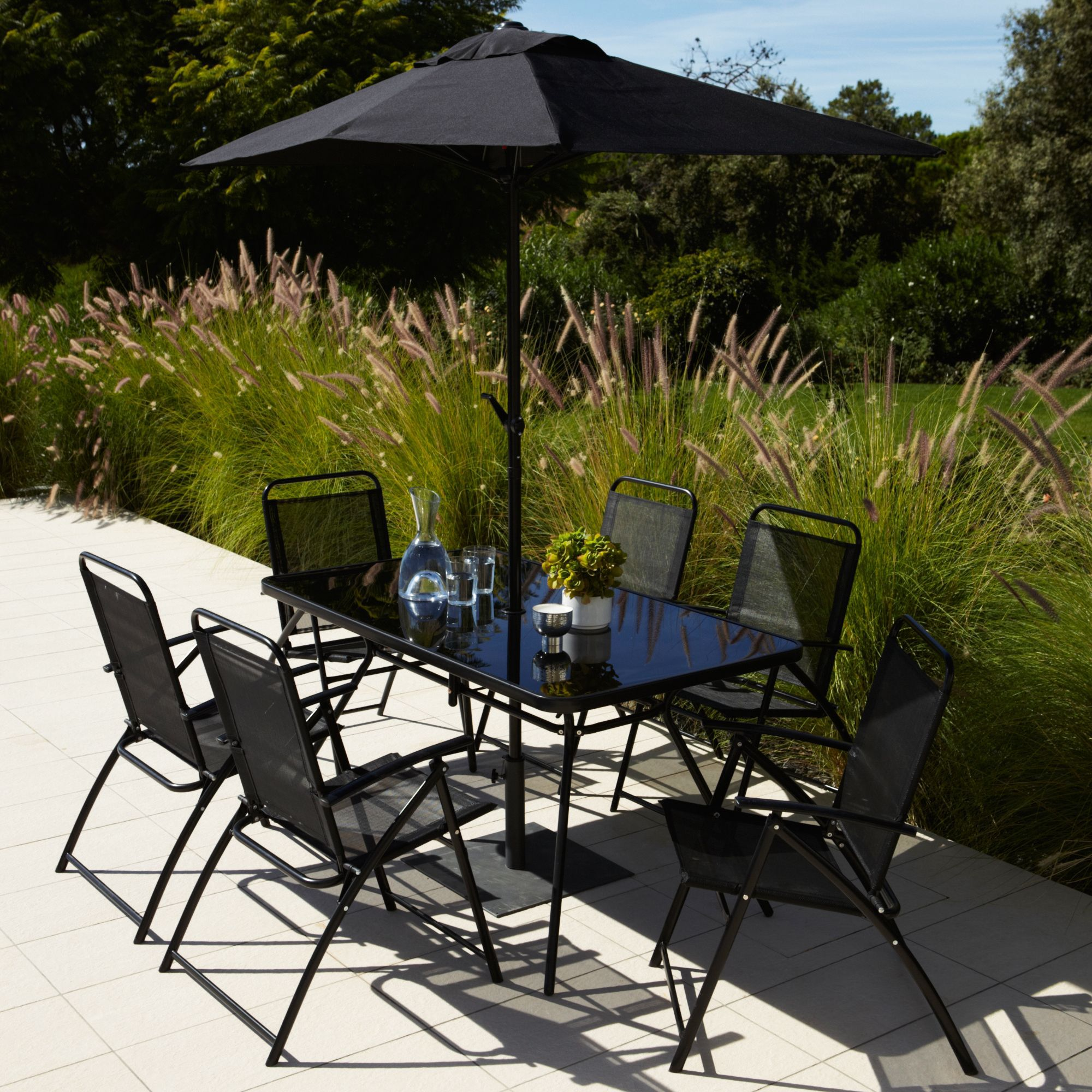 Bahama Metal 6 Seater Tables Chairs