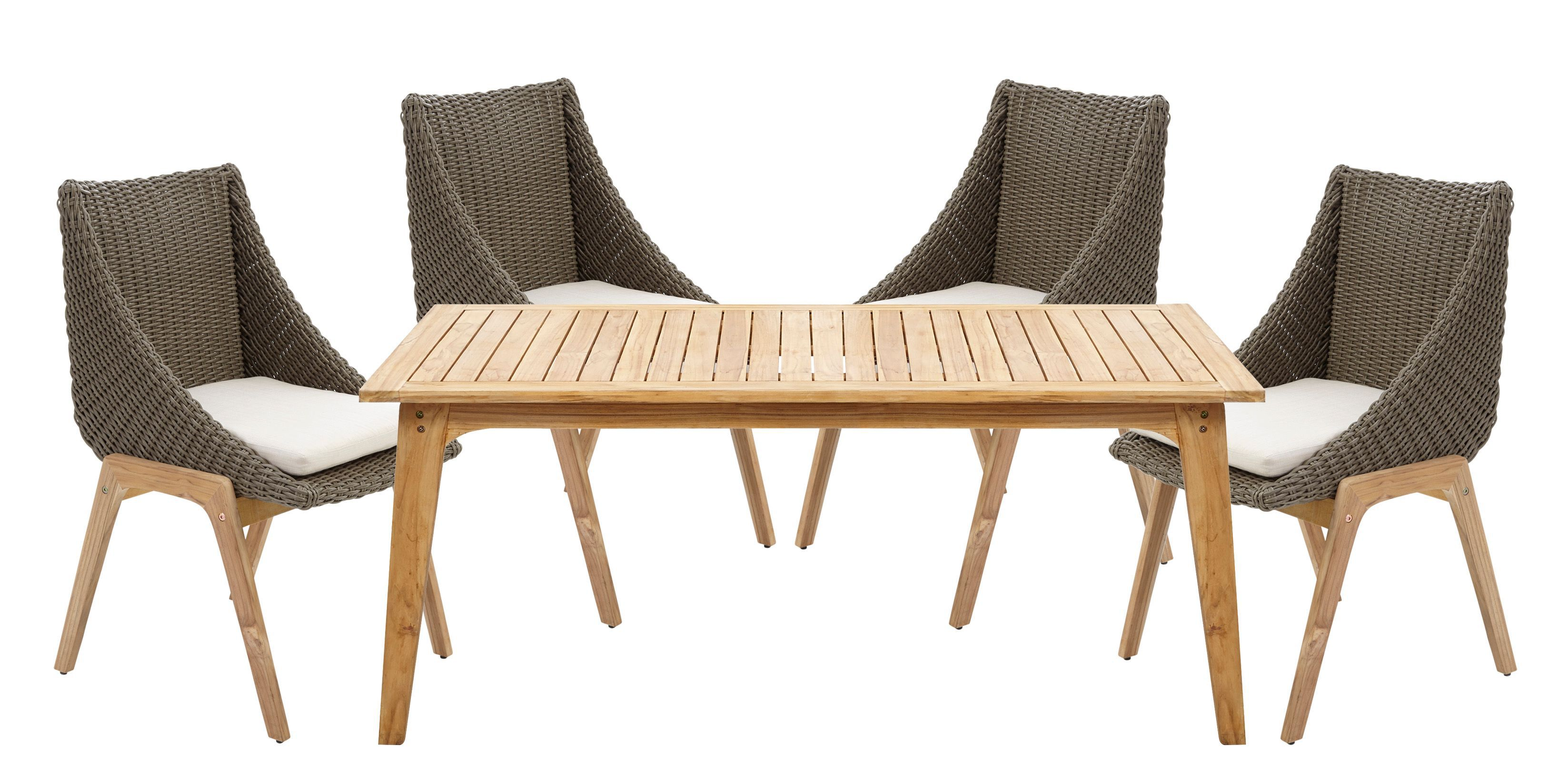 Retro Rattan Effect 4 Seater Dining Set
