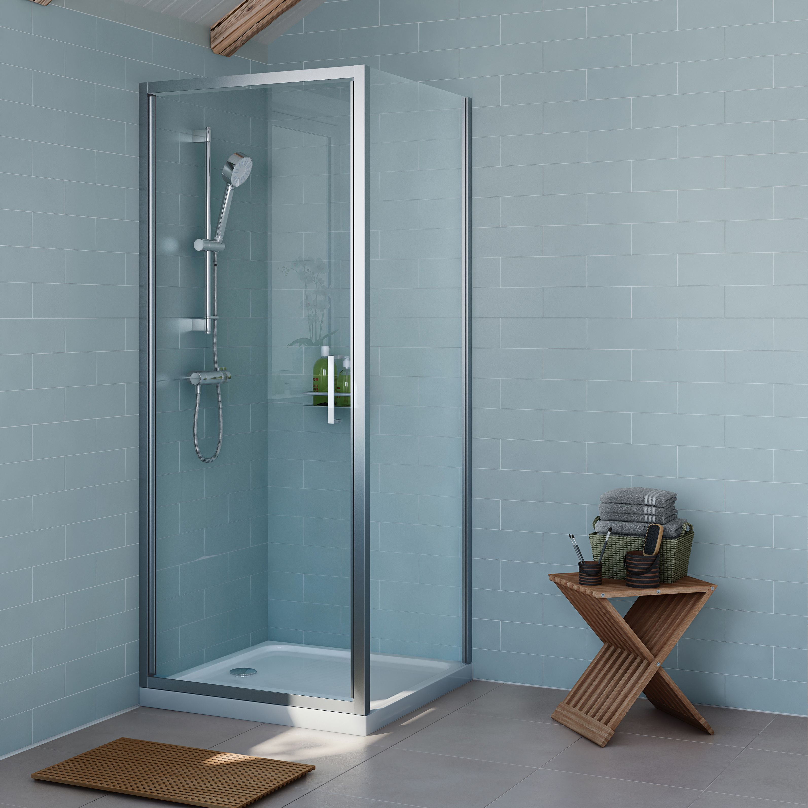 Cooke Lewis Exuberance Square Shower Enclosure Tray Waste Pack With Hinged Door W 800mm D 800mm Departments Diy At B Q