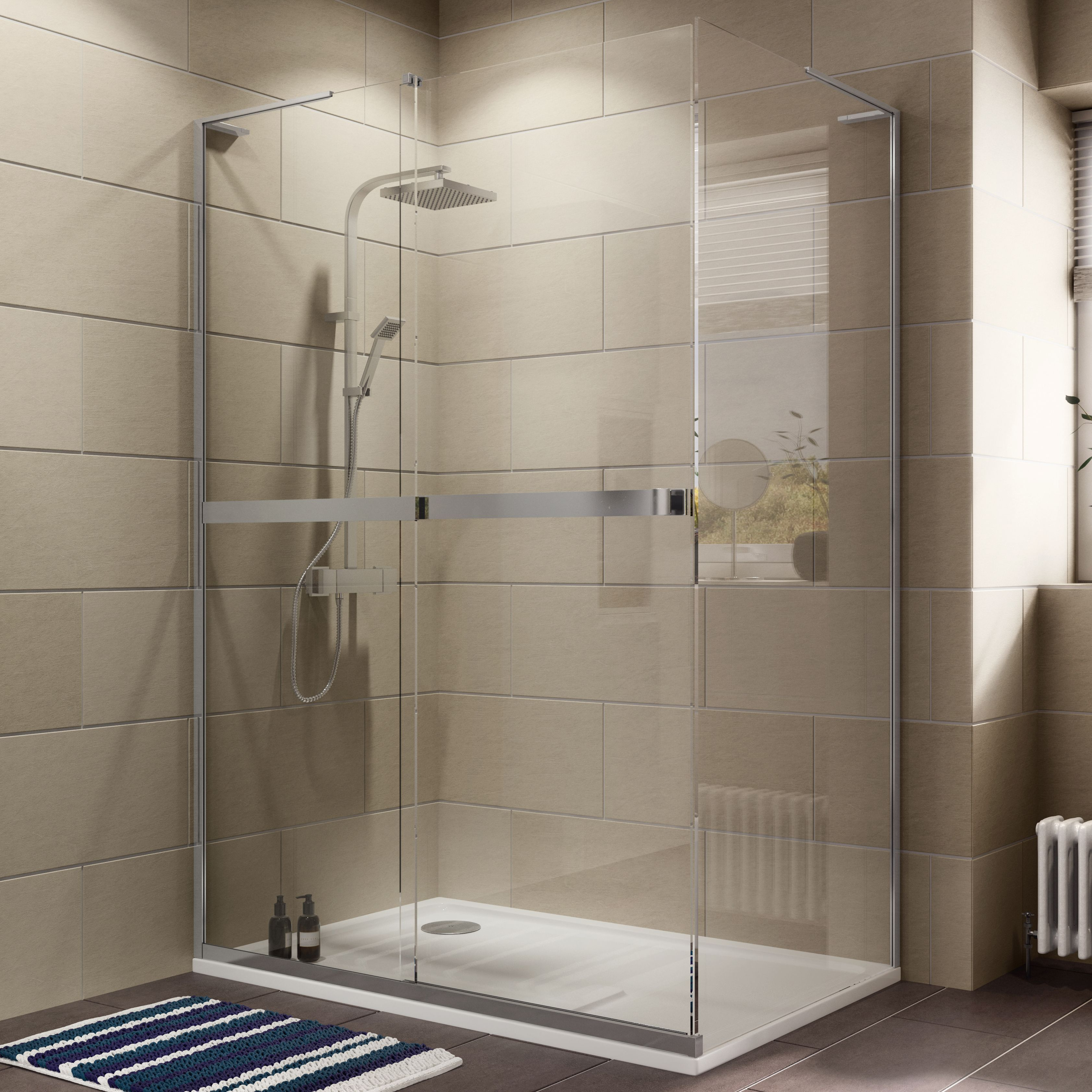 Cooke & Lewis Grandeur Rectangular Shower enclosure, tray & waste ...