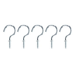 B&Q Zinc Effect Metal Cup Hook, Pack of