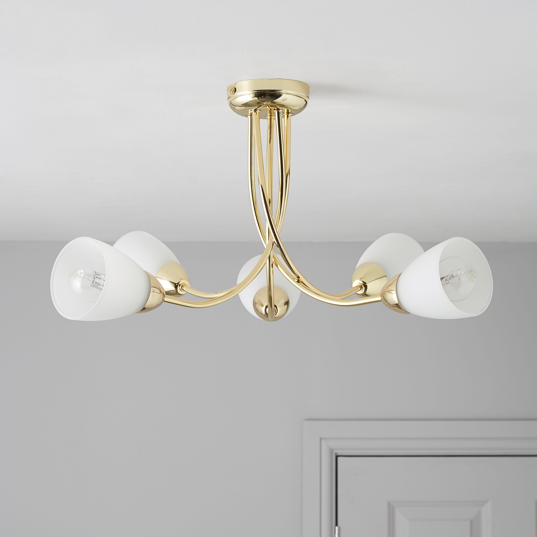 virgo gold brass effect  lamp ceiling light departments diy  bq