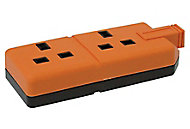 B&Q 2 Socket 13 A Trailing socket Orange