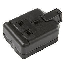 B&Q 13A 1-Gang Black Unswitched Trailing Socket